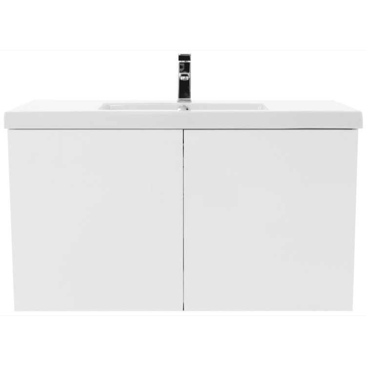 bathroom vanity iotti se119 39 inch glossy white bathroom vanity