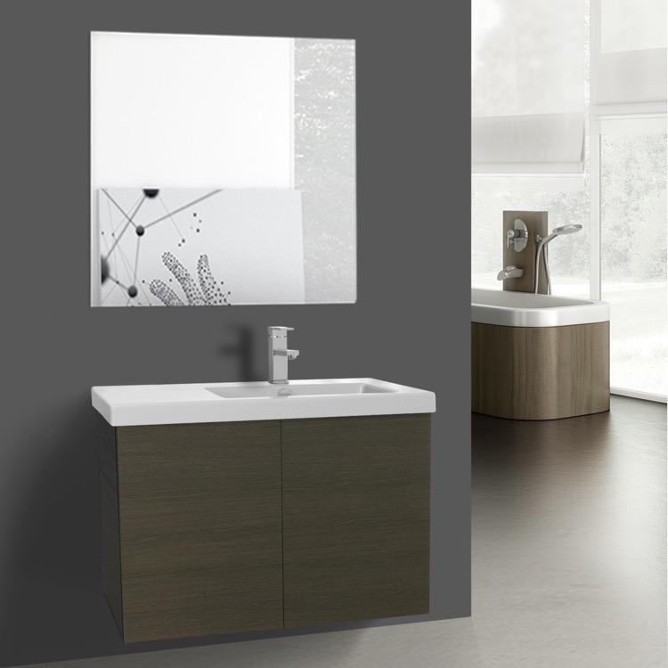 31 Inch Grey Oak Bathroom Vanity With Ceramic Sink, Mirror Included