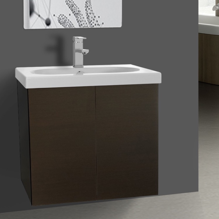 Bathroom Vanity, Iotti TR01C-Wenge, Wenge 2 Doors Vanity Cabinet with Self Rimming Sink