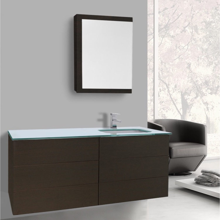 Bathroom Vanity, Iotti TN1691, 47 Inch Wenge Bathroom Vanity With White Glass  Top,