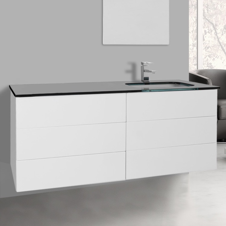 47 inch glossy white bathroom vanity with black glass top