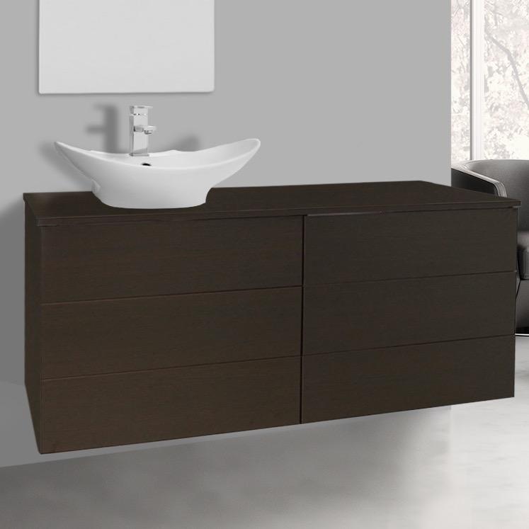47 inch wenge vessel sink bathroom vanity wall mounted