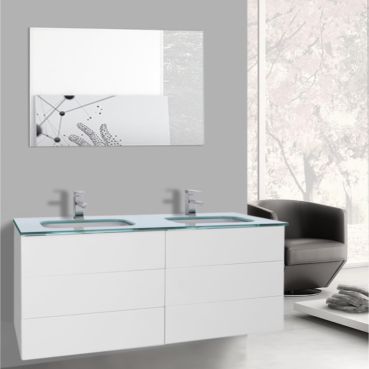 Bathroom Vanity, Iotti TN1911, 47 Inch Glossy White Double Vanity With  White Glass Top