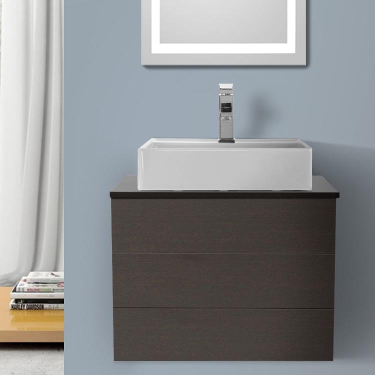 24 Inch Wenge Vessel Sink Bathroom Vanity, Wall Mounted, Iotti TN10 ...
