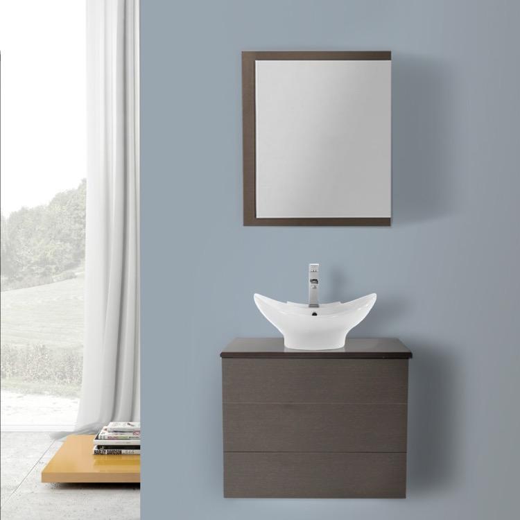 24 Inch Wenge Vessel Sink Bathroom Vanity, Wall Mounted, Medicine ...