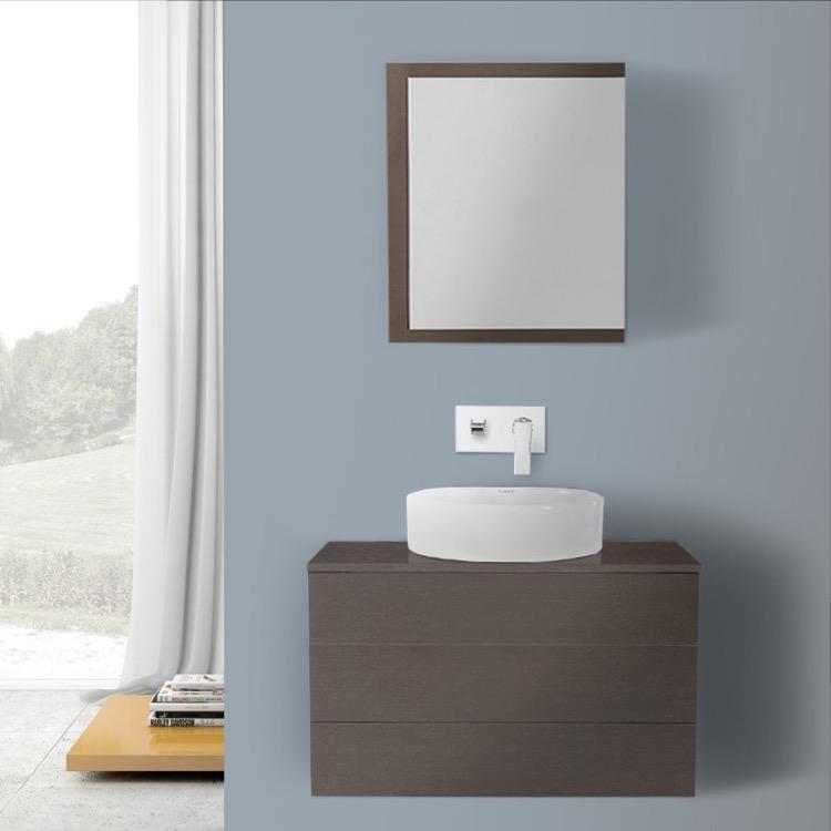 Bathroom Vanity, Iotti TN1117, 32 Inch Wenge Vessel Sink Bathroom Vanity, Wall  Mounted