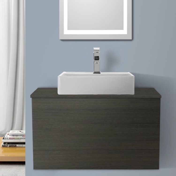 Bathroom Vanity, Iotti TN91, 32 Inch Grey Oak Vessel Sink Bathroom Vanity, Wall Mounted