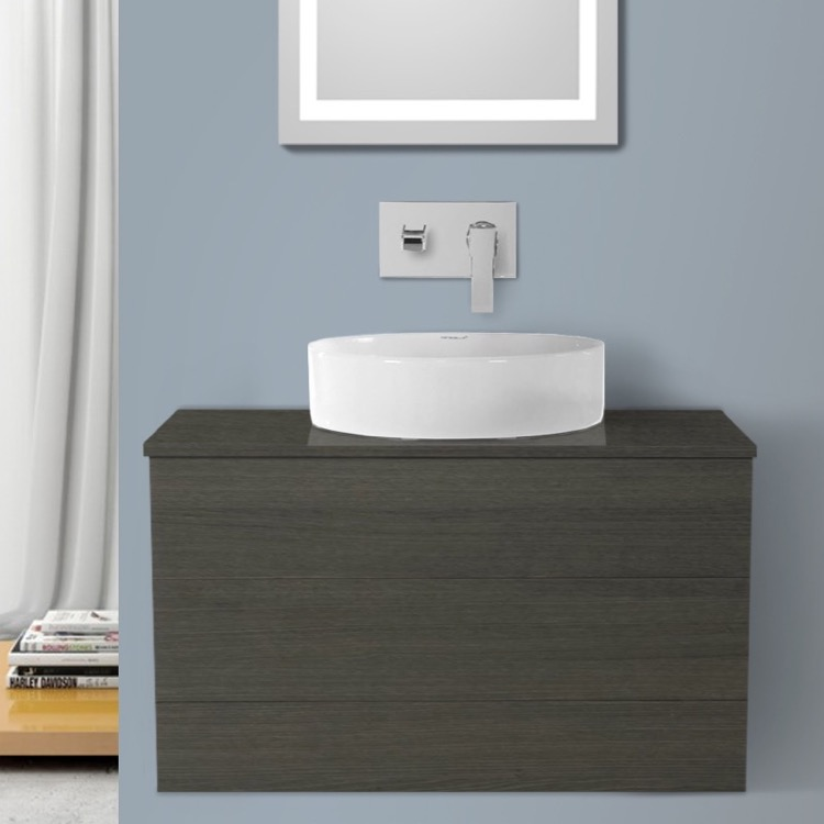 Bathroom Vanity, Iotti TN99, 32 Inch Grey Oak Vessel Sink Bathroom Vanity, Wall Mounted