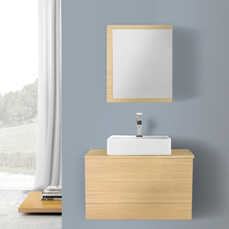 Bathroom Vanity Iotti Tn1075 32 Inch Natural Oak Vessel Sink Wall
