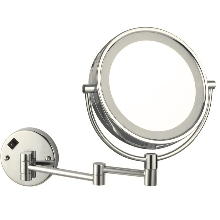 Makeup Mirror, Nameeks AR7705-SNI-3x, Satin Nickel Double Face Round LED 3x Magnifying Mirror, Hardwired