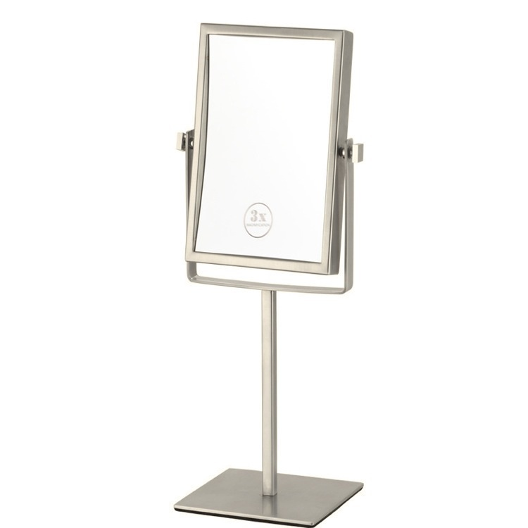 Makeup Mirror, Nameeks AR7726-SNI-3x, Satin Nickel Double Face Rectangular 3x Makeup Mirror