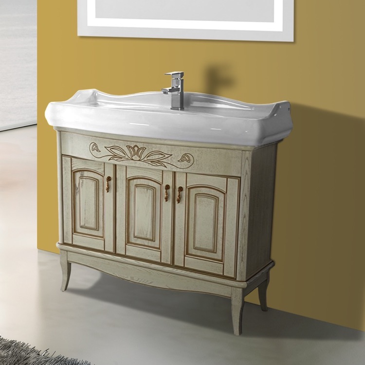 Bathroom Vanity, Nameeks MI-F02, 39 Inch Floor Standing Vanilla Vanity Cabinet With Fitted Sink