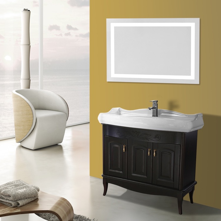 Lighted Vanity Mirror Kit : 39 Inch Calvados Floor Standing Bathroom Vanity Set, Lighted Vanity Mirror Included, Nameeks MI ...