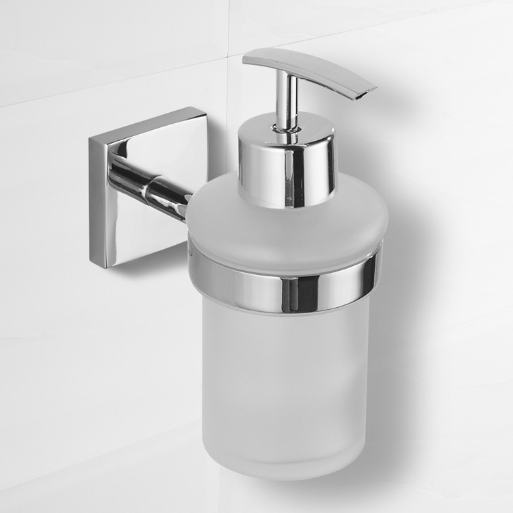 Soap Dispenser, Nameeks NCB70, Polished Chrome Wall Mounted Soap Dispenser