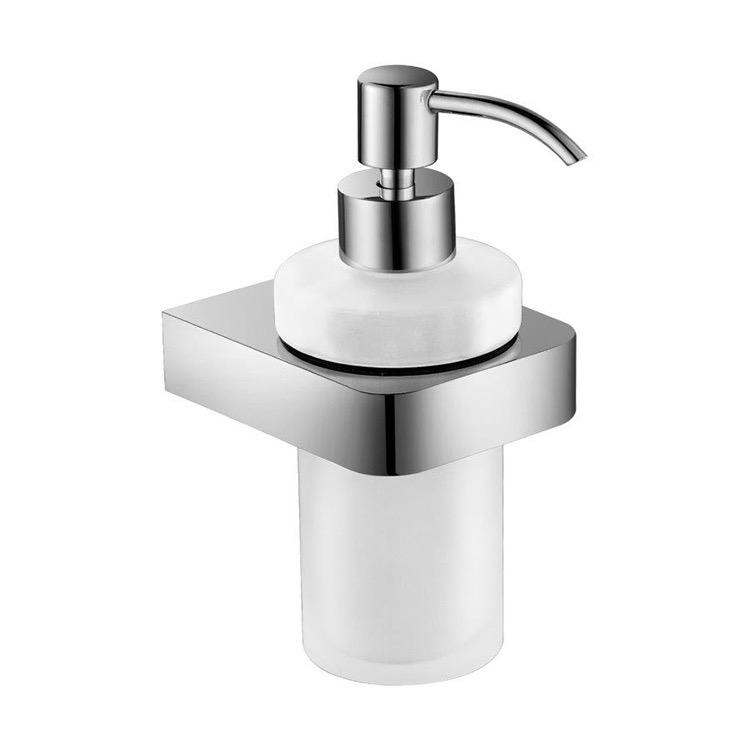 Soap Dispenser, Nameeks NFA006, Wall Mount Frosted Glass Soap Dispenser With Chrome Mounting