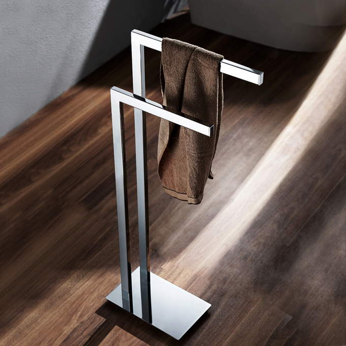 Towel Stand, Nameeks NFA015, Chrome Floor Standing Towel Stand
