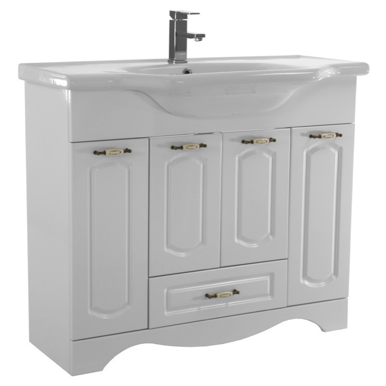 cla f03 39 inch floor standing white vanity cabinet with fitted sink