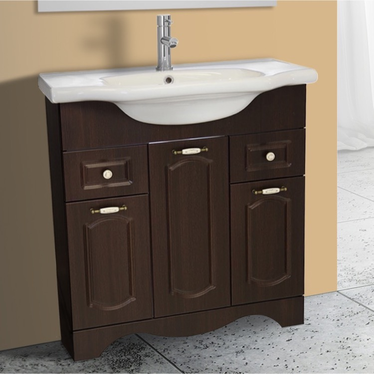 Bathroom Vanity, Nameeks CLA-F05, 31 Inch Floor Standing Walnut Vanity Cabinet With Fitted Sink