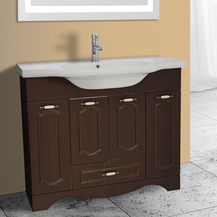 Inch Floor Standing Walnut Vanity Cabinet With Fitted Sink - 39 bathroom vanity cabinet