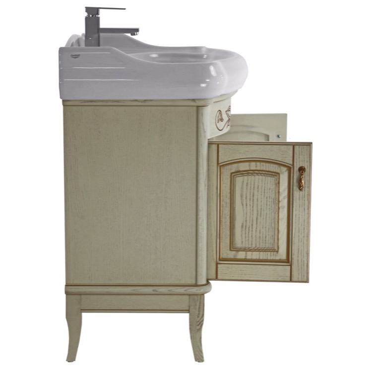 floor standing bathroom vanity set lighted vanity mirror included. Black Bedroom Furniture Sets. Home Design Ideas