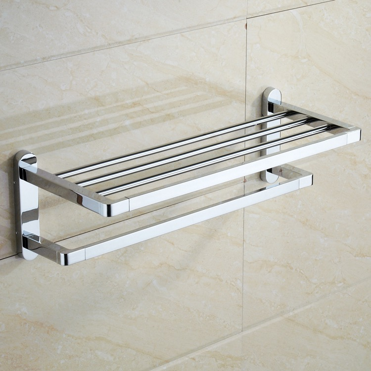 Bathroom Towel Rail Rack Modern Single Bar Wall Mounted Polished Chrome Zinc