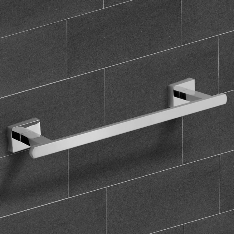 Towel Bar, Nameeks NCB24, 12 Inch Polished Chrome Towel Bar