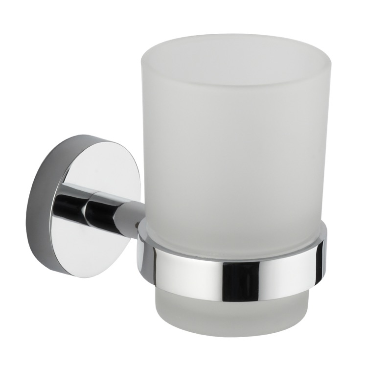 Toothbrush Holder, Nameeks NCB40, Chrome Wall Mounted Frosted Glass Toothbrush Holder