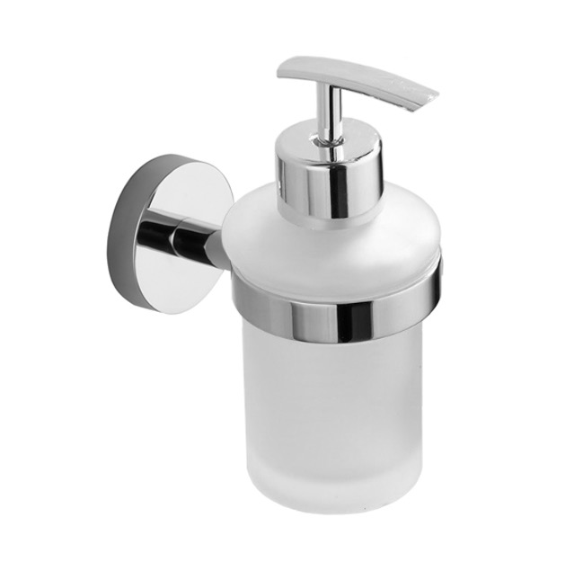 Soap Dispenser, Nameeks NCB41, Chrome Wall Mounted Frosted Glass Soap Dispenser