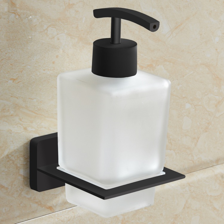 Soap Dispenser, Nameeks NCB62, Matte Black Wall Mounted Frosted Glass Soap Dispenser