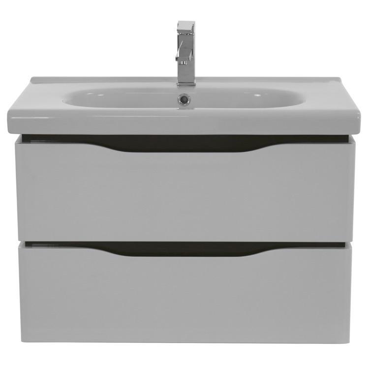 white wall mounted bathroom vanity set lighted vanity mirror included. Black Bedroom Furniture Sets. Home Design Ideas