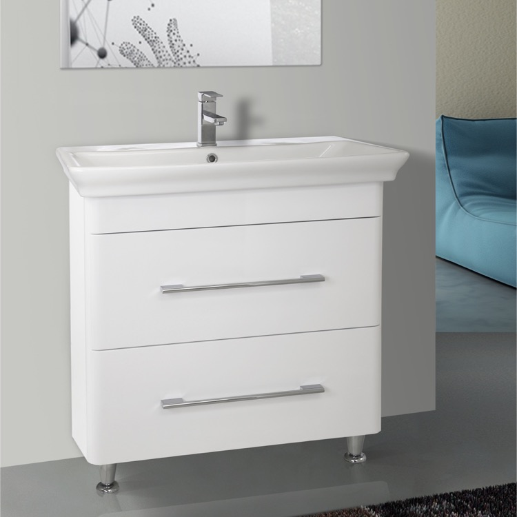 Bathroom Vanity, Nameeks PA-F01, 32 Inch Floor Standing White Vanity Cabinet With Fitted Sink