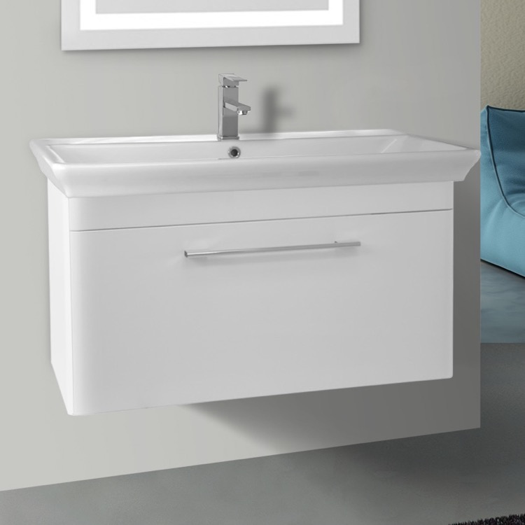 Bathroom Vanity, Nameeks PA-W02, 38 Inch Wall Mounted White Vanity Cabinet With Fitted Sink