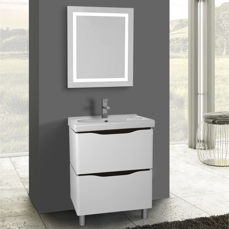 24 inch white floor standing bathroom vanity set, lighted vanity 24 Inch Bathroom Vanity with Drawers