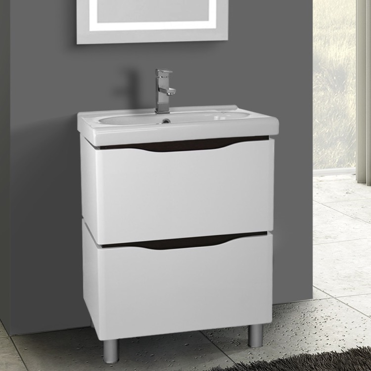 Bathroom Vanity, Nameeks VN-F01, 24 Inch Floor Standing White Vanity Cabinet With Fitted Sink
