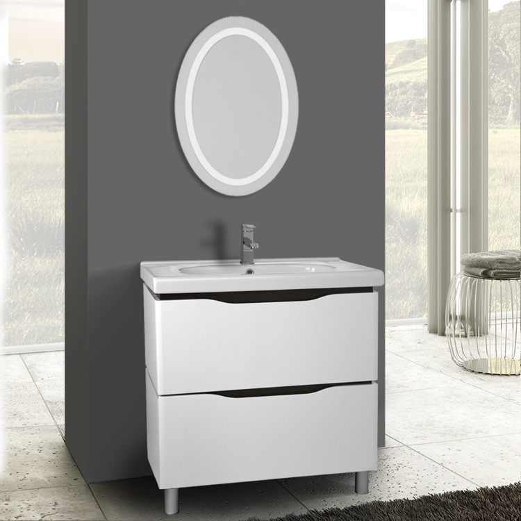 Lighted Vanity Mirror On Stand : 32 Inch White Floor Standing Bathroom Vanity Set, Lighted Vanity Mirror Included, Nameeks VN-F34 ...