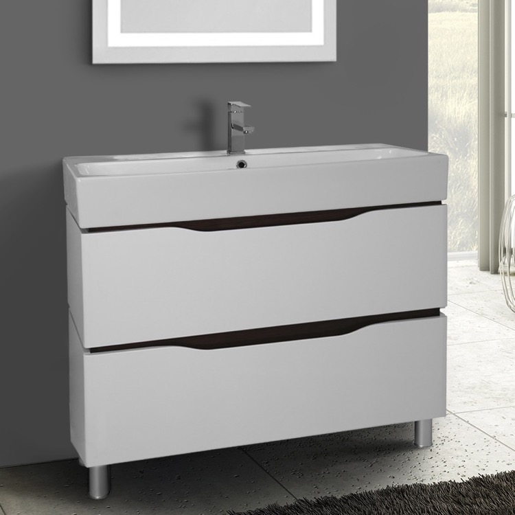 Nameeks Vn F03 By Nameek S Venice 40 Inch Floor Standing White Vanity Cabinet With Fitted Sink Thebathoutlet