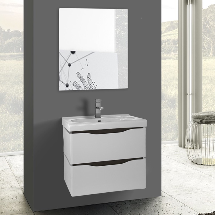 24 Inch White Wall Mounted Bathroom Vanity Set Mirror Included