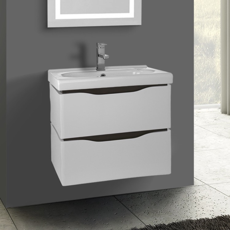 Bathroom Vanity Nameeks Vn W01 24 Inch Wall Mounted White Cabinet With