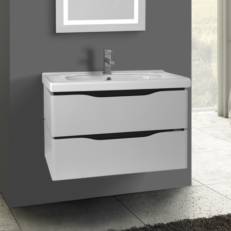 Bathroom Vanity, Nameeks VN-W02, 31 Inch Wall Mounted White Vanity Cabinet With Fitted Sink