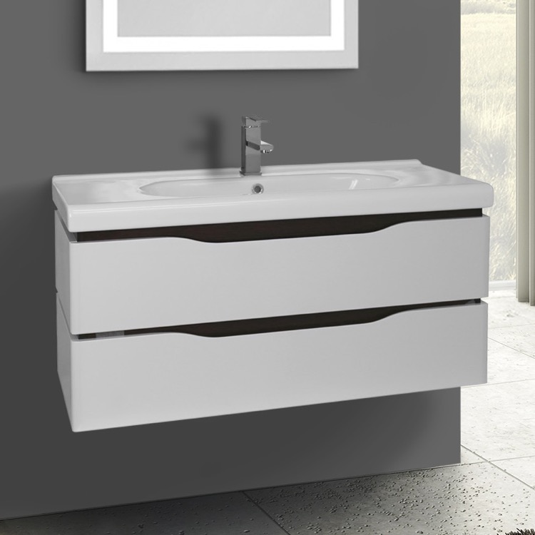40 Inch White Wall Mounted Bathroom Vanity Set