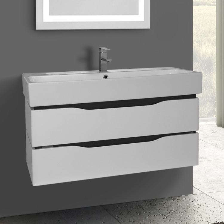 Bathroom Vanity, Nameeks VN-W03, 39 Inch Wall Mounted White Vanity Cabinet With Fitted Sink