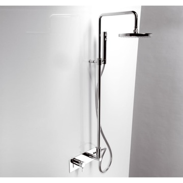 Shower Column, Ponsi 387/2 CR, Adjustable Chrome Shower Column With Shower Head, Diverter And Handshower 387/2 CR
