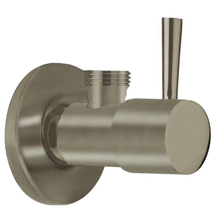 Angle Valve, Remer 128L-NP, Satin Nickel Angle Valve With Lever Handle