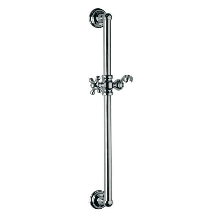 Shower Slidebar, Remer 317L-CR, Round Brass Sliding Rail Available in 8 Finishes