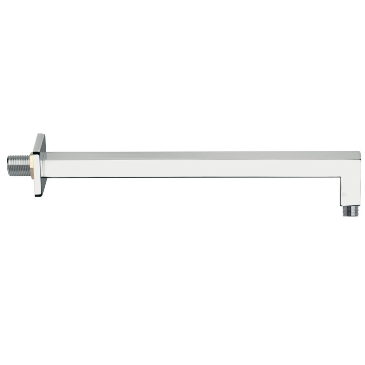 Shower Arm, Remer 348S30US-CR, Wall-Mounted 12 Inch Squared Shower Arm With Square Wall Flange