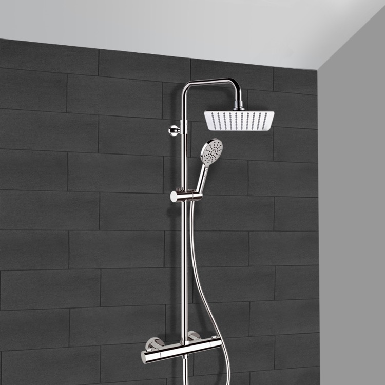 Exposed Pipe Shower, Remer SC545, Chrome Thermostatic Exposed Pipe Shower System with 8