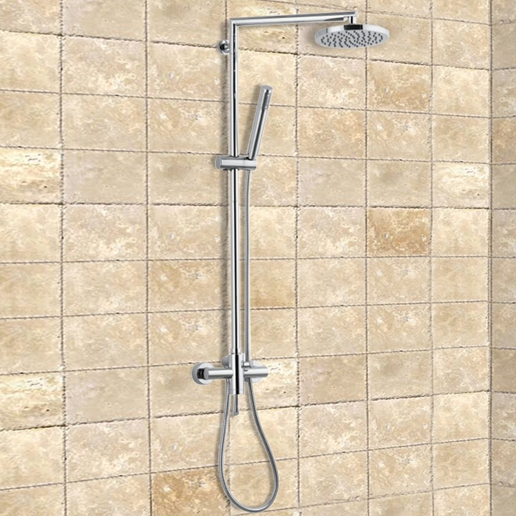 Exposed Pipe Shower, Remer J37B, Chrome Shower System With Overhead Shower and Hand Shower