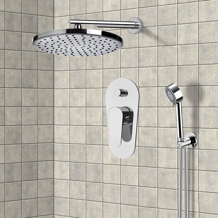 rain shower head with handheld. Shower Faucet  Remer L09LS02US Chrome System with 8 Rain Head and Hand