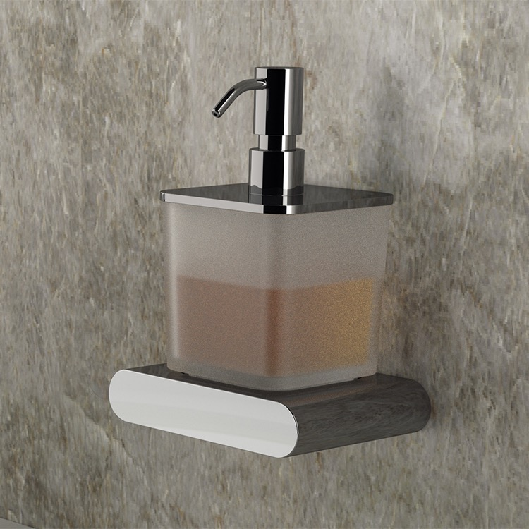 Soap Dispenser, Remer LN13, Frosted Glass and Brass Wall Mounted Soap Dispenser