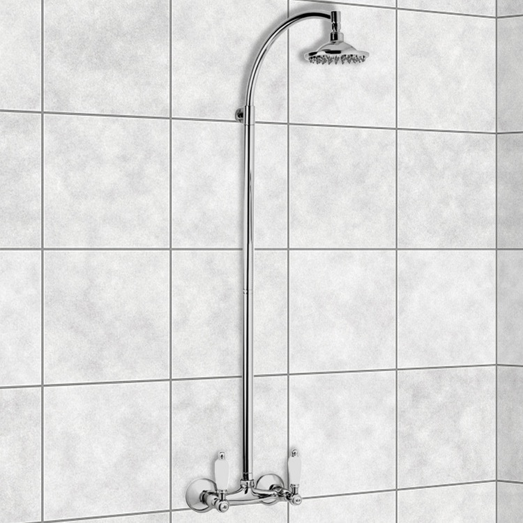 Exposed Pipe Shower, Remer LR36US, Wall-Mounted Shower Head Column In Chrome Finish